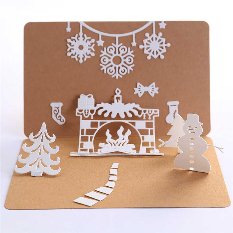 yanQxIzbiu Cutting Die Christmas Fireplace Metal Cutting Die Scrapbooking Paper Cards Emboss Stencil