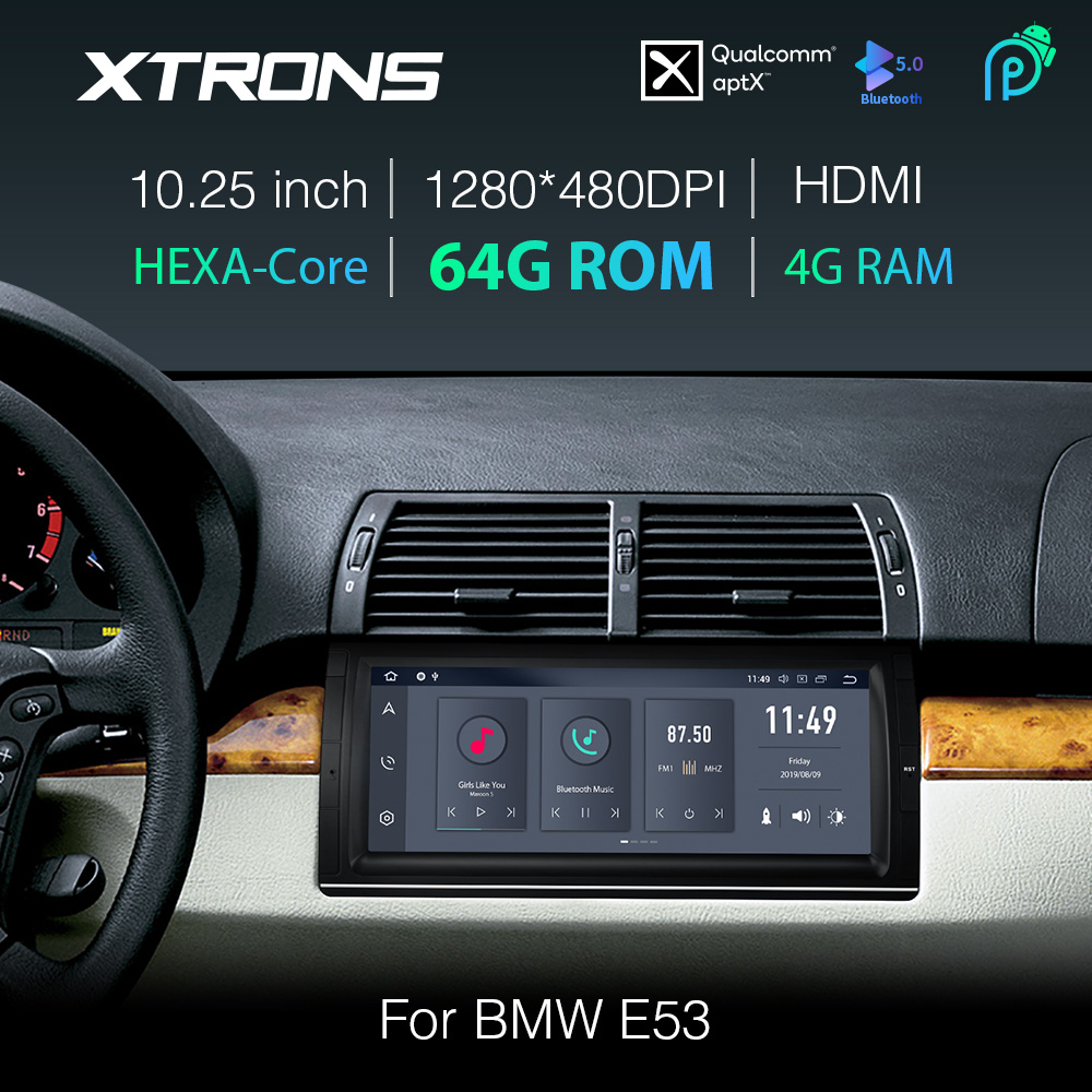 XTRONS 10.25'' Android 9.0 PX6 Car Stereo Player GPS HDMI Bluetooth Hi·Res Audio Code for BMW <font><b>X5</b></font> <font><b>E53</b></font> 1999- <font><b>2004</b></font> 2005 2006 NO DVD image