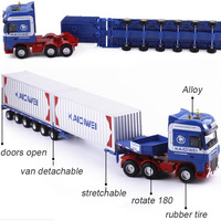 1:50 Scale Alloy transport Car Metal Truck Trailer Container Logistics Car Diecast Engineering Vehicle Model Kid Toy Collections