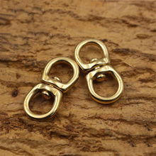 1pcs Solid brass swivel eye rotating connector 8-shape for keychain wallet round circle key ring metal buckle
