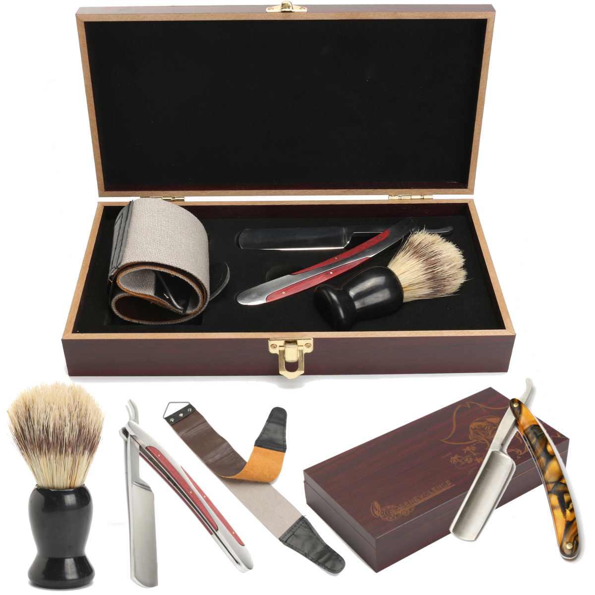 4Pcs/set Vintage Manual Shaver Kits With Wooden Box Gifts Barber Holder Folding Shaving Knife Shave Beard Cutter