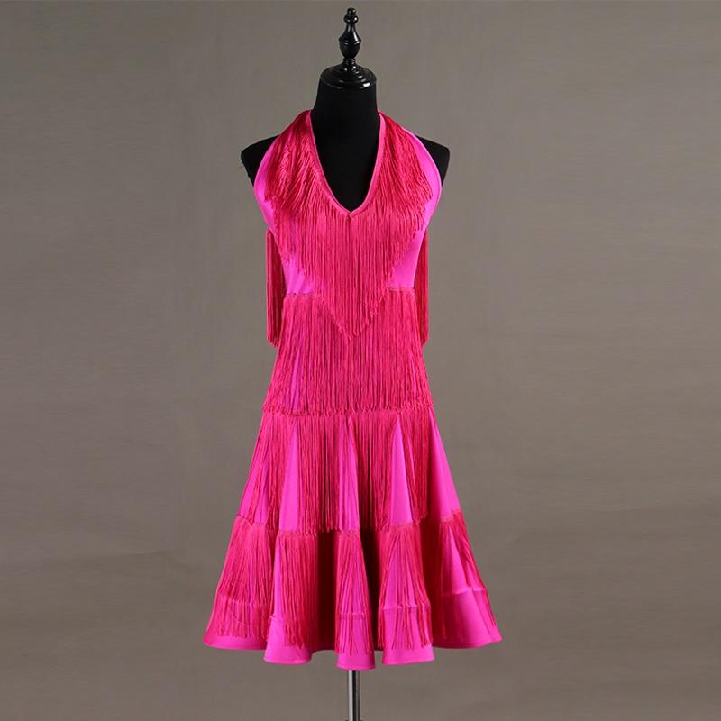 2020 custom made Women Dance Wear Ballroom Dress Samba Costume Party Dresses Sheer Mesh Stretchy Fringes Latin Dress