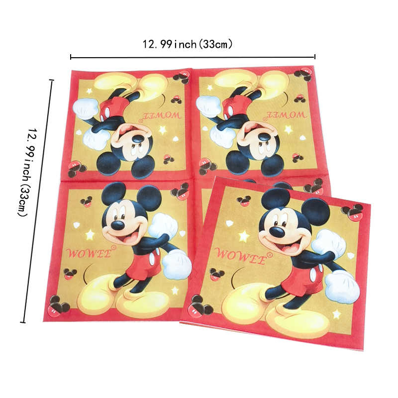 For 6 Kids Red Mickey Mouse Party Supplies Decorations Birthday Party Favors Napkins Tablecloth Balloons Caketopper