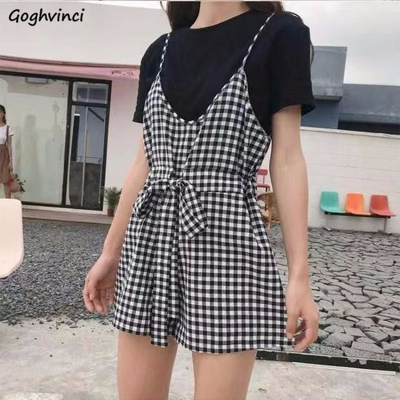 Rompers Women Black Plaid Casual Summer New Fashion Womens Korean Style High Quality Females Plus Size Hot Sale Playsuits Soft