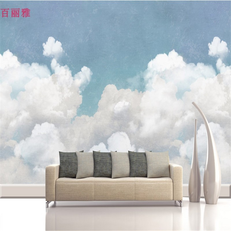 Blue Wallpaper Sky Cloud Hand-Painted Simple Bedroom TV Backdrop Wall CHILDREN'S Room Wallpaper Boy Northern European-Style Wall