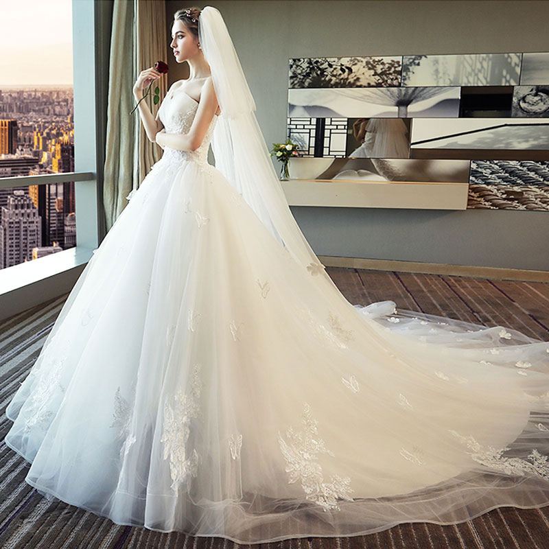 OLLYMURS  Princess White Dream Wedding Dress Off Shoulder Sweetheart Applique Lace Ball Gown Bridal Dress Trailing Yarn