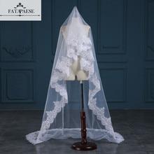 רומנטי לבן/שנהב 3 מטרים חתונה רעלות קתדרלת רעלה התחרה Edge שכבה אחת כלה רעלה אביזרי חתונה veu de noiva