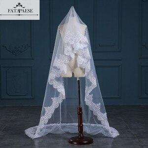 Image 1 - Romantic White/Ivory 3 Meters Wedding Veils Cathedral Veil Lace Edge One Layer Bridal Veil Wedding Accessories veu de noiva