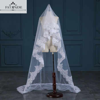 Romantic White/Ivory 3 Meters Wedding Veils Cathedral Veil Lace Edge One Layer Bridal Veil Wedding Accessories veu de noiva - DISCOUNT ITEM  29% OFF All Category