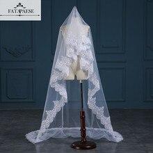 Romantik Beyaz/Fildişi 3 Metre Düğün Veils Katedrali Peçe Dantel Kenar Bir Katmanlı Gelin Peçe Düğün Aksesuarları veu de noiva