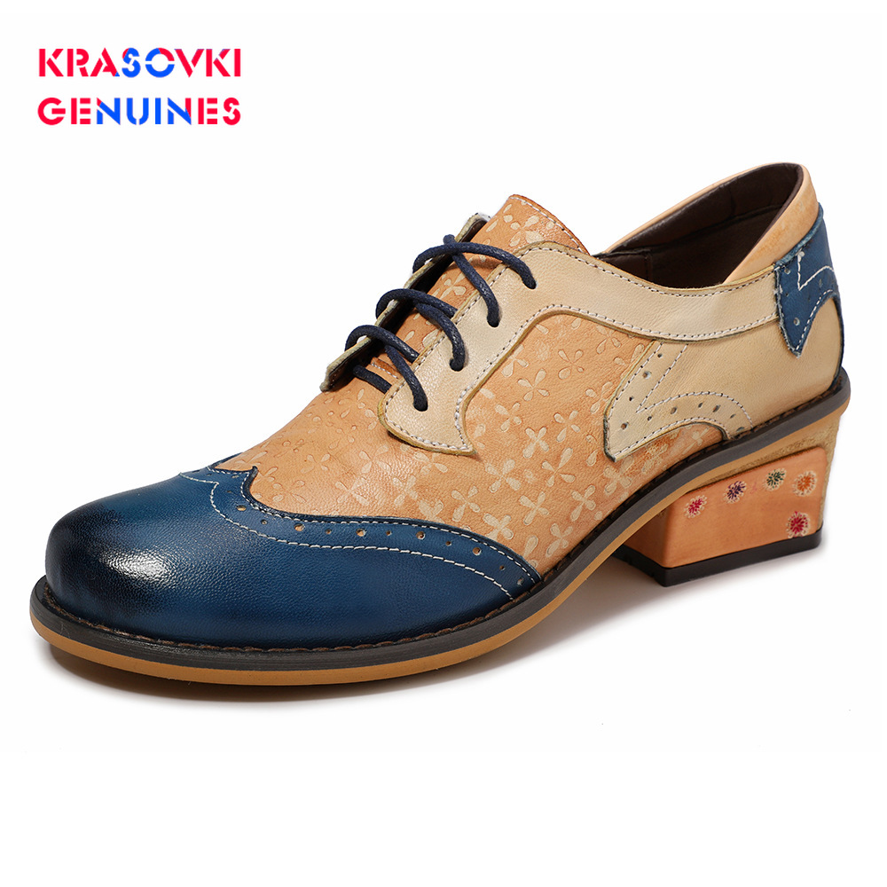 Krasovki Genuines Women Flats Oxford Shoes Leather Flat Ladies Brogues Vintage Casual Oxford Shoes For Women Footwear Leather