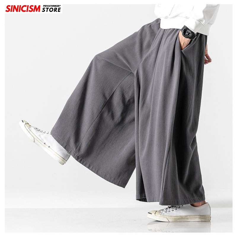 Sinicism Store Autumn Causal Baggy Pants 2020 Chinese Style Draped Solid Cotton Pants Mens Loose Traditional Wide Leg Pants Male