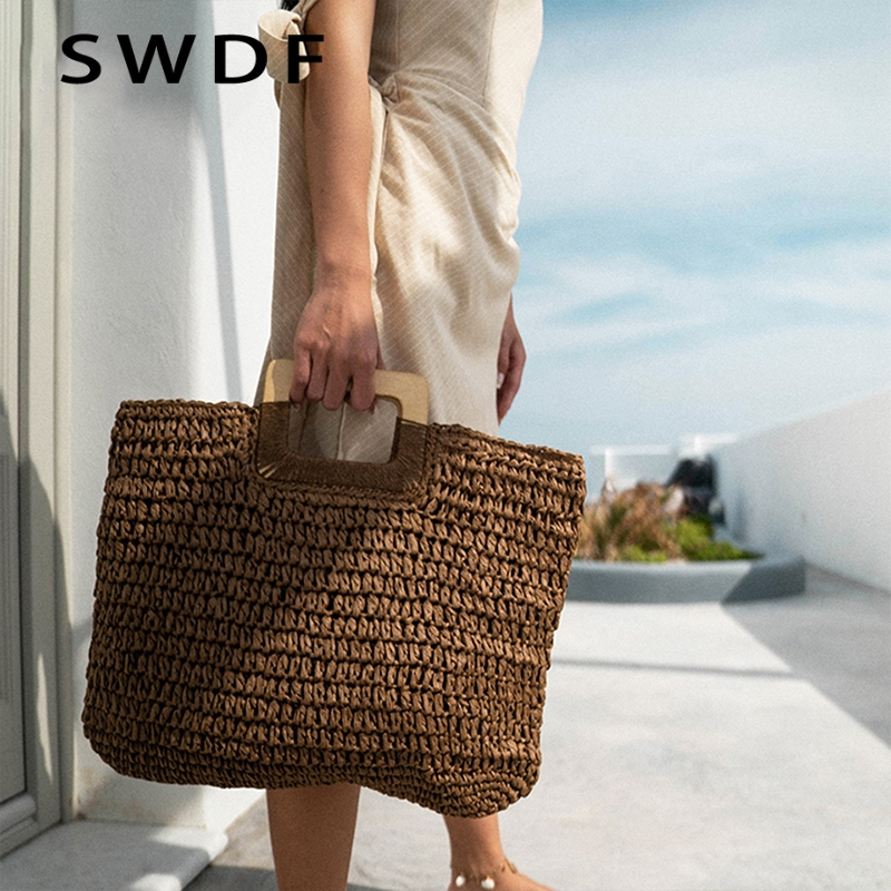Jin Mantang 2020 Woven Handbag Wooden Handle Large Capacity Paper Rope Woven Straw Bag Fashion Summer Vacation Travel Beach Bag