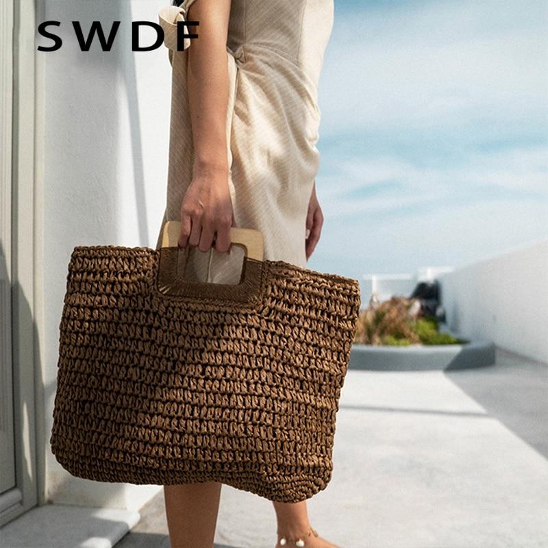 Jin Mantang 2020 Woven Handbag Wooden Handle Large Capacity Paper Rope Woven Straw Bag Fashion Summer Vacation Travel Beach Bag