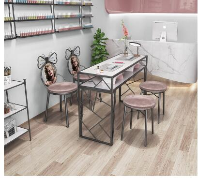 Купить с кэшбэком New nail table and chair set net red single double paint ins iron nail table special price economy