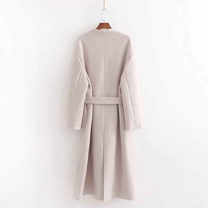 ZA herbst winter wolle tweed mantel frauen Mid-Lange schärpen casual frauen windjacke Oberbekleidung woolen graben parka weibliche