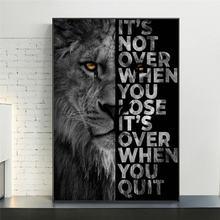 Черный Лев с вдохновляющими словами настенная Картина на холсте
