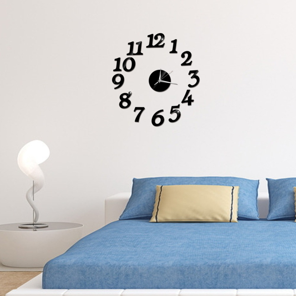3D Wall Clock Mirror Wall Stickers Fashion Living Room Quartz Watch DIY Home Decoration Clocks Sticker reloj de pared 3