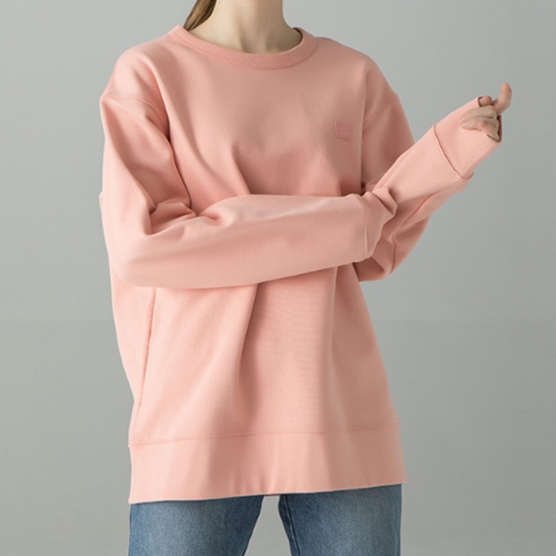 Women's Smile Sweatshirt Loose Solid Color Hoodie Oversize Simple Long Sleeve Hoodie Top