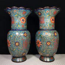 """10 """"Тибет Буддизм старинные бронзовые Перегородчатые ваза"""