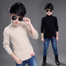 Kids Boys Sweater 2019 Autumn Winter Knitted Cotton Toddler Clothing Turtleneck For 5-13 Years Outerwear Tops