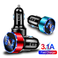 3.1A Dual USB Car Charger 2 Port LCD Display 12-24V Cigarette Lighter Socket for iPhone 12 11 PRO MAX 8 7 Samsung Huawei Xiaomi