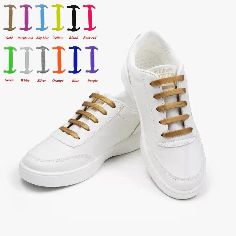 woman 16 Color Lazy No Tie Elastic Silicone laces shoelaces child man