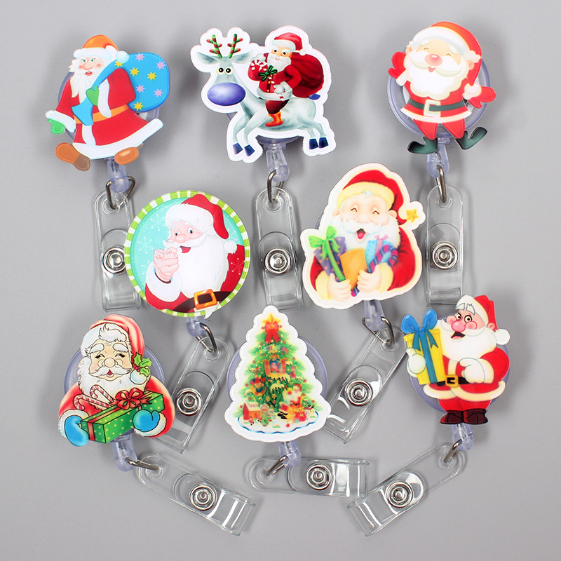 Colors Happy Father Christmas Style Clown Retractable Creative Badge Card Holder Reel Nurse Exhibition Enfermera Name Card Chest