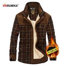 2020 Mens Winter Warm Thicken Fleece 100% Cotton Plaid Shirt Man Casual Brand High Quality Army Green Grid Long Sleeve Shirts