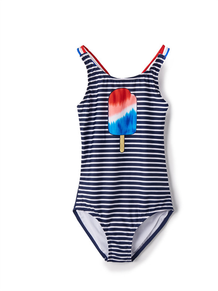 Girls Swimsuit One Piece Bathing Suits for Girls,Children's One-piece Striped Printed Swimsuit слитный купальник maio infantil