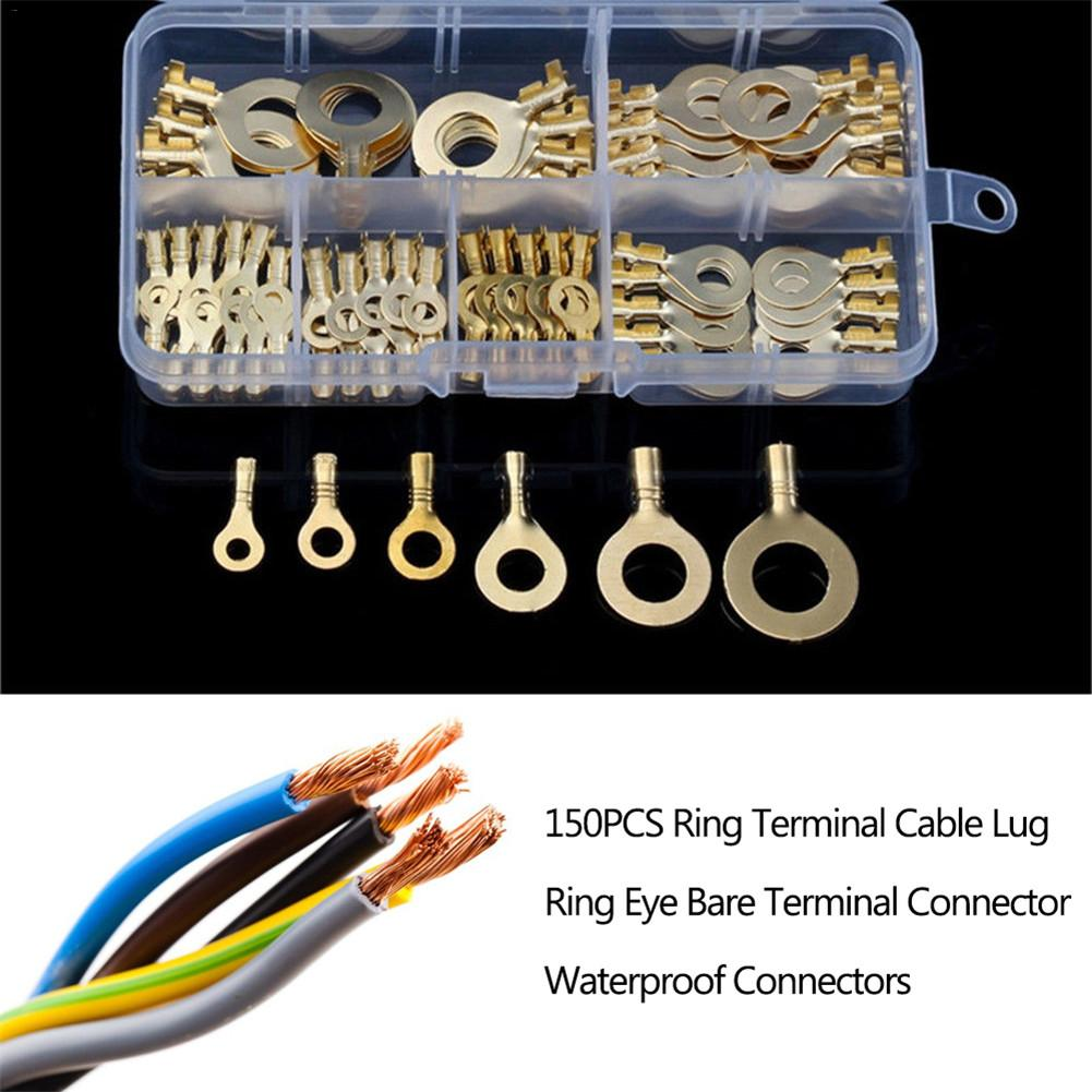 150PCS Ring Terminal Cable Lug Ring Multi-function Electrical Connector Kit Terminal Waterproof Connectors Car Accessories