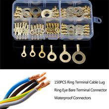 цена на 150PCS Ring Terminal Cable Lug Ring Multi-function Electrical Connector Kit Terminal Waterproof Connectors Car Accessories