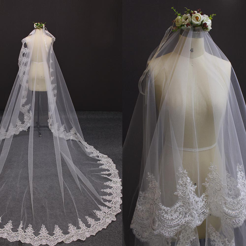 Sparkling Sequin Lace Wedding Veil WITHOUT Comb Cover Face 3 Meters Mantilla Bridal Veil Cathedral Long Bride Accessories
