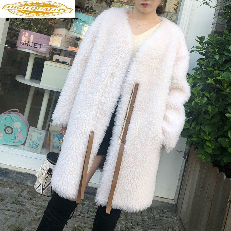 Sheep Shearing Real Fur Coat 100% Wool Jacket Women Clothes 2019 Autumn Winter Coat Women Korean Fashion Fur Tops 173 YY1883