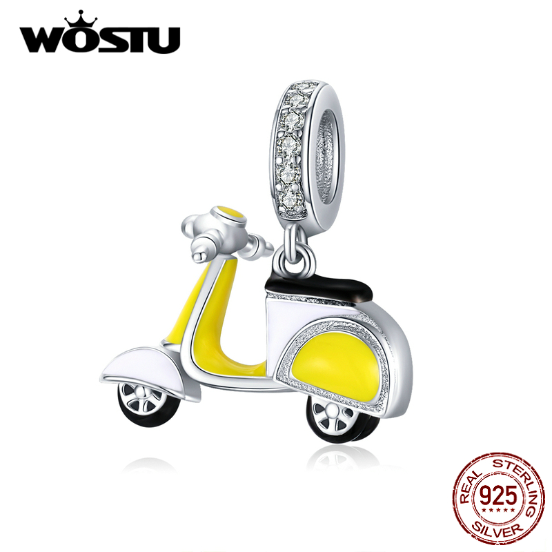 WOSTU 925 Sterling Silver Lovely Yellow Motorcycle Charms Bead Fit Original Bracelet Pendant For Women Necklace Jewelry CTC136
