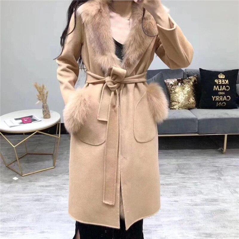 Inverno Grossa de Lã Quente Forro de Pele De Raposa Natural Double-sided Coats Mulheres Sobretudo Destacável Cashmere Longo Outwear Com Capuz