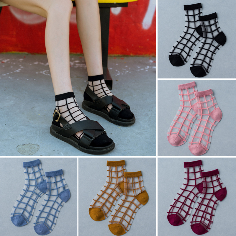 1 Pair Women Socks Summer New Colorful Lovely Ankle Socks Soft Silk Thin Transparent Socks Plaid Cool Socks