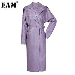 Женский Тренч EAM, большой размер, фиолетовая ветровка из искусственной кожи с отворотом и длинным рукавом, весенне-Осенняя мода 2020 1W647
