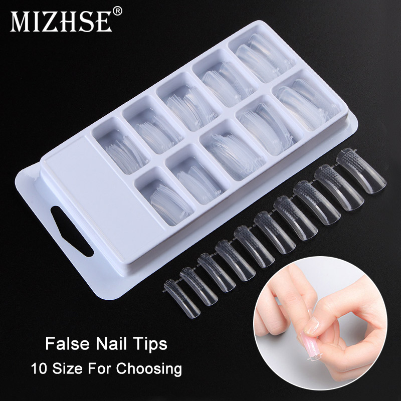 MIZHSE 100pcs Nail Art Quick Building Poly Gel Mold Form Finger Extension UV Builder Tips Clip DIY Manicure Tools