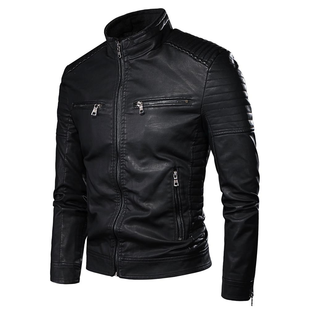 Luulla Men Spring Brand New Causal Vintage Leather Jacket Coat Men Outfit Design Motor Biker Zip Pocket PU Leather Jacket Men 8
