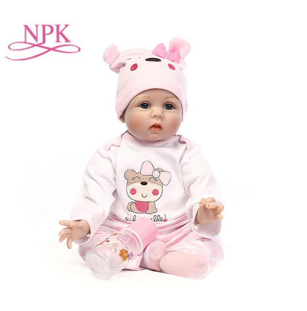 Npk 신생아 다시 태어난 아기 인형 실리콘 귀여운 부드러운 아기 인형 소녀 공주 아이 패션 소녀 bebe reborn dolls 55cm 40cm