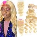 Queen Beauty 613 медовый цвет светлый тело волна Remy человеческие волосы 4x4 малайзийская кружевная застежка с сделками 8 - 30 32 34 36 дюймов