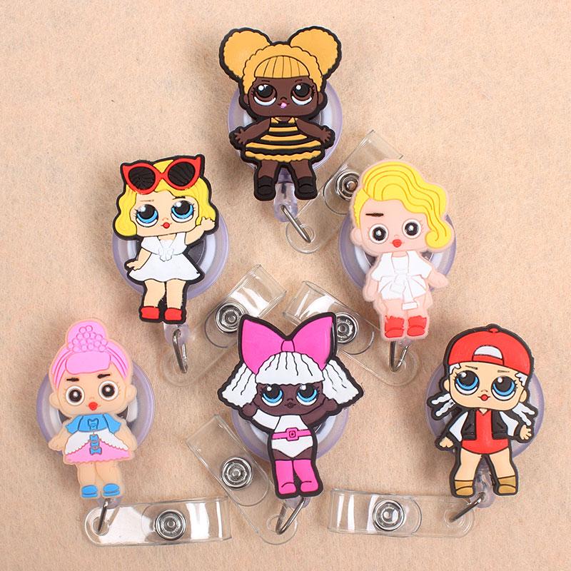 6 Styles Cute Girl Boys  Retractable Creative Plastic Badge Holder Reel Students Nurse Exhibition Enfermera Name Card Chest Card