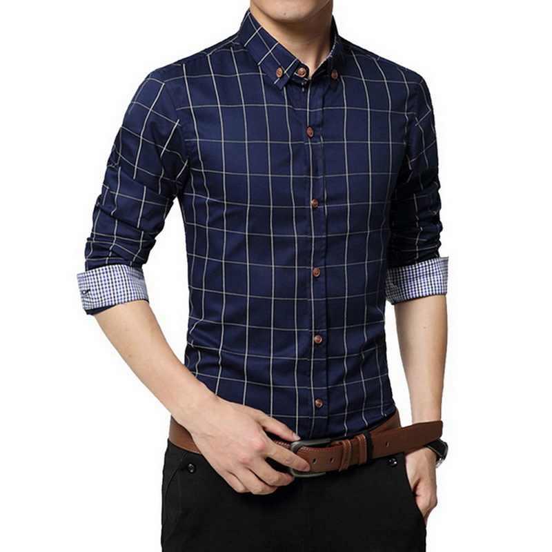 남성 격자 무늬 인쇄 긴 소매 공식적인 남자 셔츠 턴 다운 칼라 남성 비즈니스 드레스 패션 패치 워크 셔츠 탑스 5xl