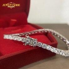 Jewepisode – Bracelet en argent massif 925 pour femme, bijou rond en diamant Moissanite, pour fête de mariage