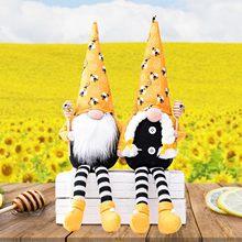 Tavşan havuç Gnome dekor Bumble Bee çizgili Gnome İskandinav Tomte Nisse İsveç bal arısı Elfs ev çocuk oyuncakları hediye
