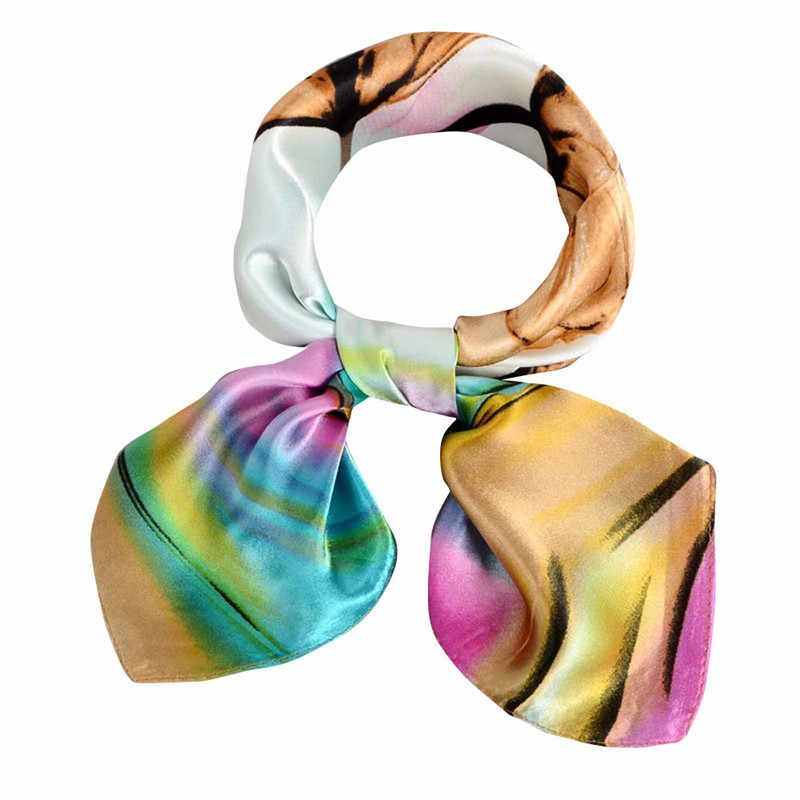 Soft Silk Square Scarf Scarves Bandanas Head Wrap Shawl Satin Stewardess Female Elegant Silk Scarf Fashion AccessoriesHX08