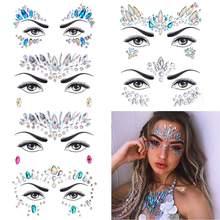 1 conjuntos de mulheres sereia rosto gemas glitter, strass rave festival jóias, cristais adesivos para rosto, olhos corpo tatuagens temporárias