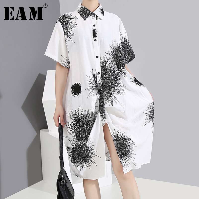 [EAM] Women White Pattern Printed Big Size Shirt Dress New Lapel Short Sleeve Loose Fit Fashion Tide Spring Summer 2020 1Y145