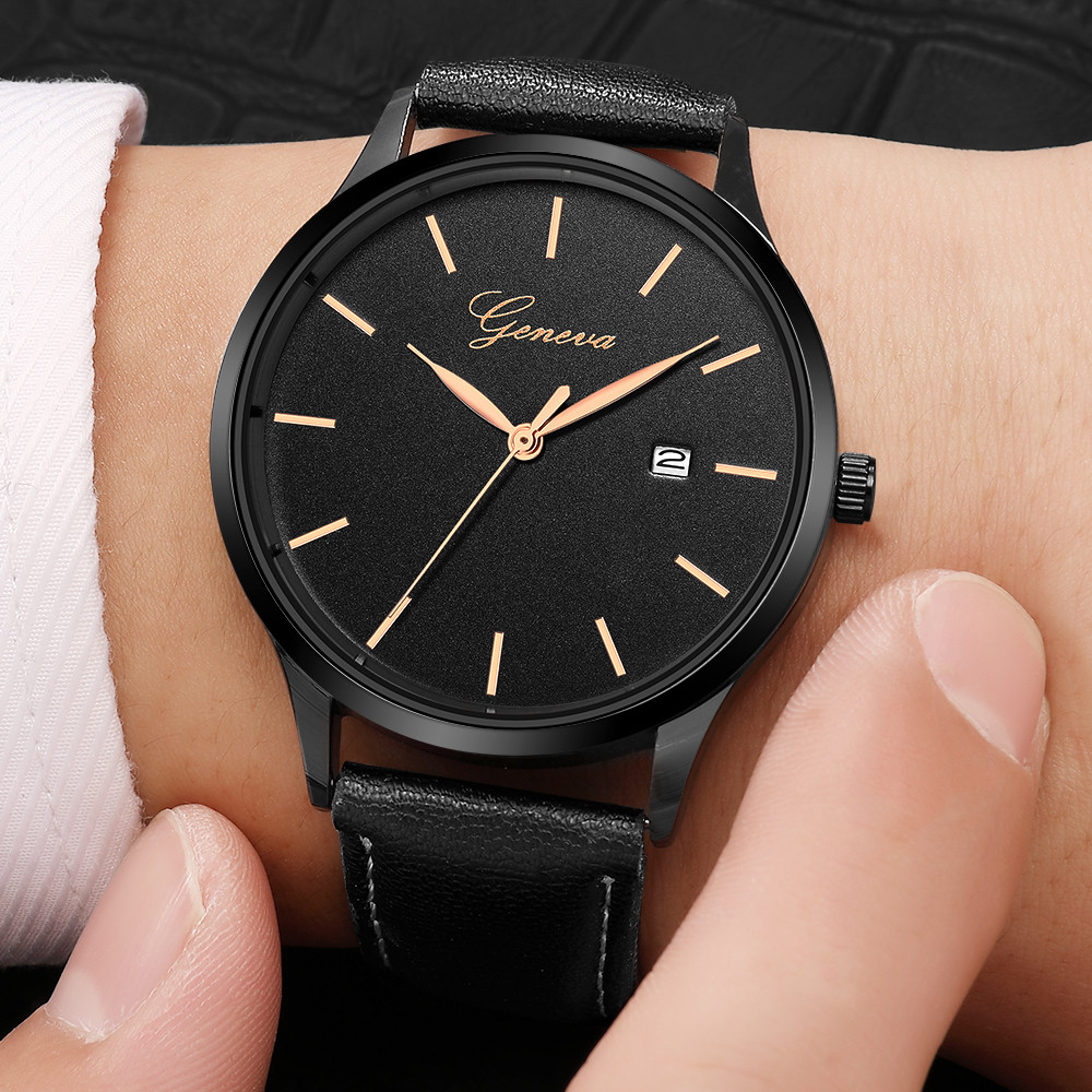 Geneva Watches Men's Fashion Sport Stainless Steel Case Leather Band Quartz Analog Wrist Watch With Date Clock Relogio Masculino